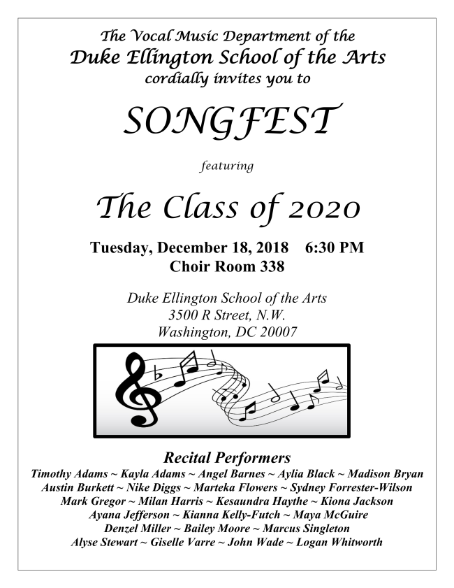Songfest Class of 2020 - 2018.12